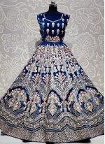 Velvet Blue Thread Work Lehenga Choli