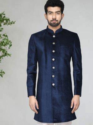 Velvet Buttons Indo Western Sherwani in Blue