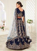 Velvet Embroidered A Line Lehenga Choli in Navy Blue