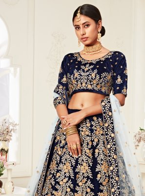 Velvet Embroidered A Line Lehenga Choli in Navy Blue