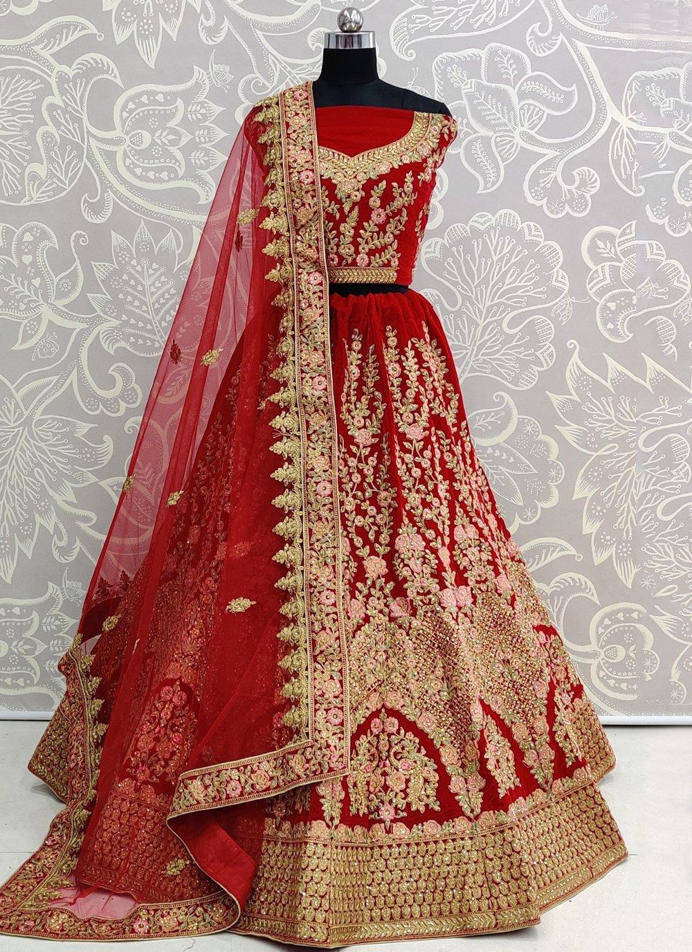 Velvet Embroidered Designer Lehenga Choli in Red