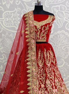 Velvet Embroidered Designer Lehenga Choli in Red