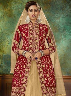 Velvet Embroidered Designer Long Lehenga Choli in Red