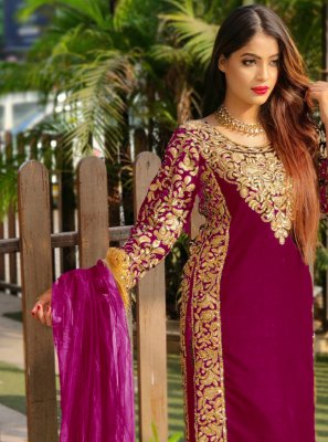 Velvet Embroidered Magenta Pant Style Suit