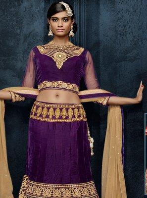 Velvet Embroidered Purple Lehenga Choli