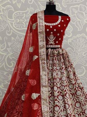 Velvet Embroidered Red A Line Lehenga Choli