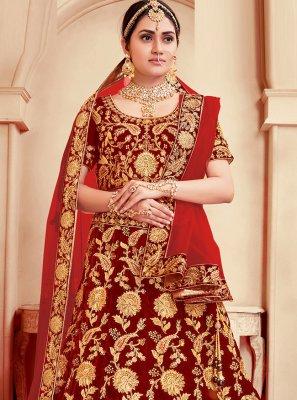 Velvet Embroidered Red Lehenga Choli