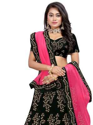 Velvet Fancy Black Lehenga Choli