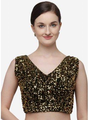 Velvet Gold Sequins Designer Blouse