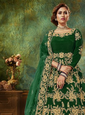 Velvet Green Floor Length Anarkali Suit