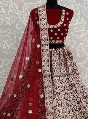 Velvet Maroon Embroidered Designer Lehenga Choli