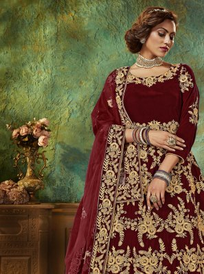 Velvet Maroon Stone Work Floor Length Anarkali Suit