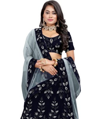 Velvet Navy Blue Fancy Lehenga Choli