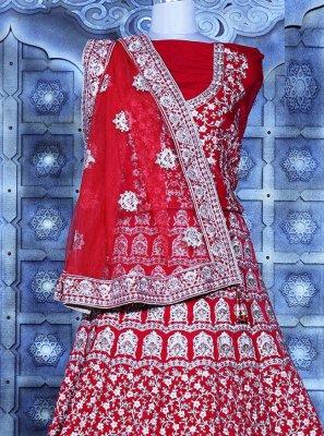 Velvet Patch Border Lehenga Choli in Red
