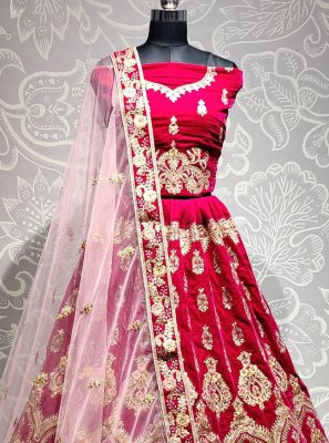 Velvet Pink Embroidered Trendy Lehenga Choli