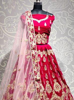 Velvet Pink Embroidered Trendy Lehenga Choli