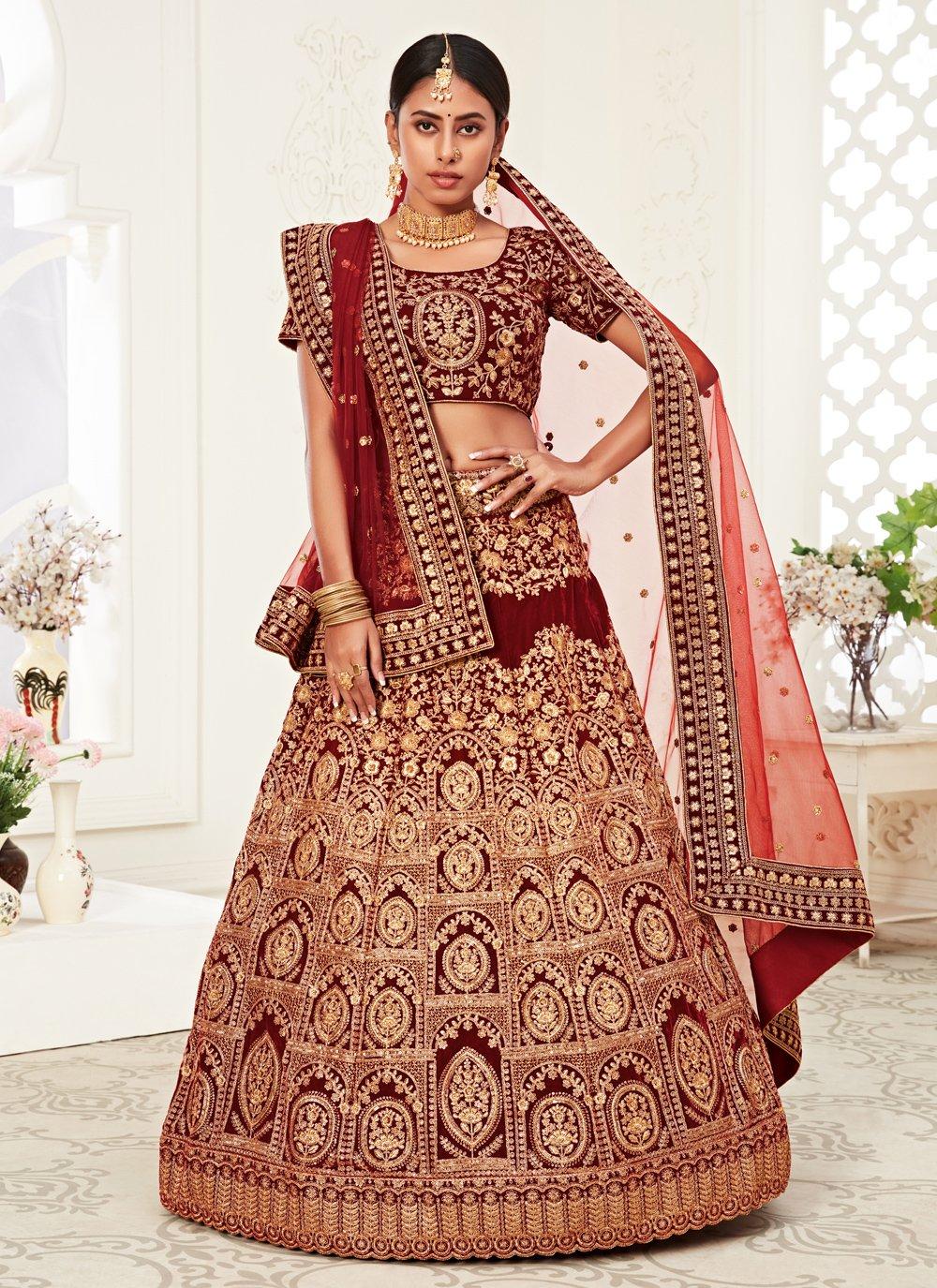 Velvet Red Bollywood Lehenga Choli