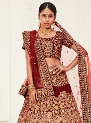 Velvet Red Bollywood Lehenga Choli