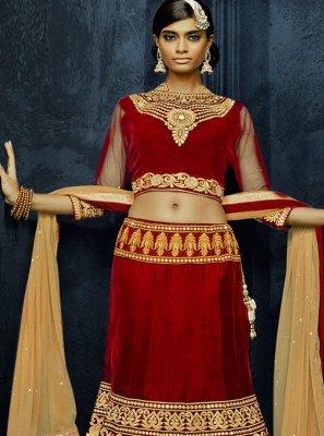 Velvet Red Embroidered Lehenga Choli