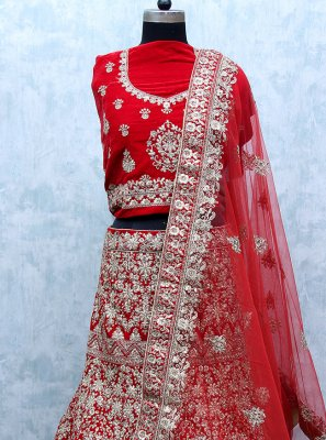 Velvet Red Patch Border Lehenga Choli