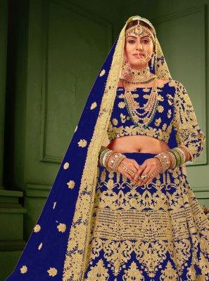 Velvet Resham Lehenga Choli in Blue