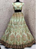 Velvet Sea Green Embroidered Lehenga Choli