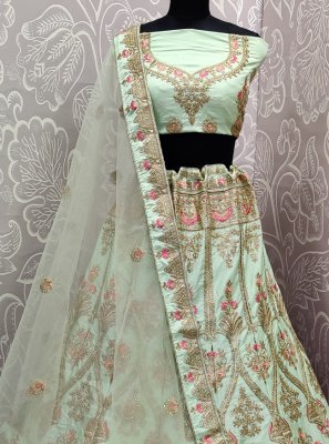 Velvet Sea Green Embroidered Lehenga Choli