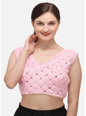 Velvet Sequins Pink Designer Blouse