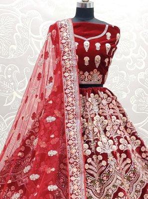 Velvet Thread Work Lehenga Choli