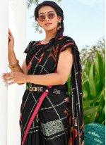 Vichitra Silk Black Abstract Print Saree