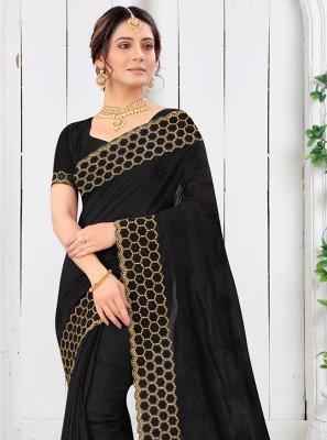 Vichitra Silk Black Resham Silk Saree