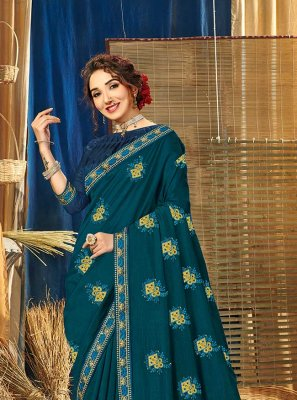 Vichitra Silk Blue Zari Bollywood Saree