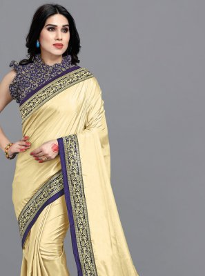 Vichitra Silk Cream Classic Designer Saree