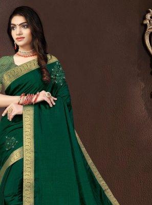 Vichitra Silk Designer Traditional Saree in Green