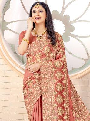 Vichitra Silk Designer Traditional Saree in Salmon