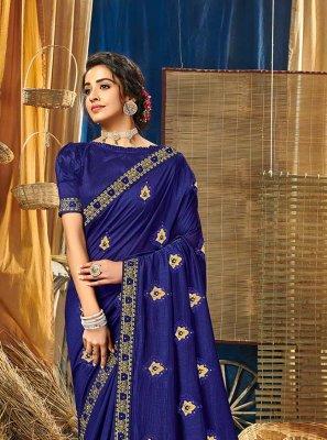 Vichitra Silk Embroidered Blue Classic Designer Saree