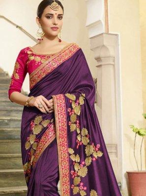 Vichitra Silk Embroidered Designer Traditional Saree