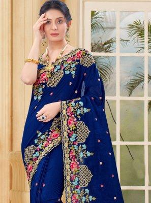 Vichitra Silk Embroidered Designer Traditional Saree in Blue