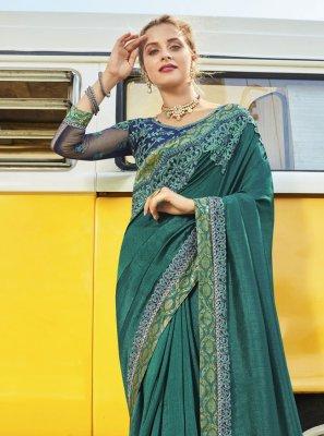 Vichitra Silk Embroidered Rama Designer Traditional Saree
