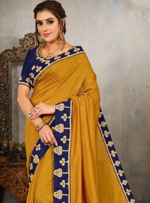 Vichitra Silk Embroidered Traditional Saree in Mustard