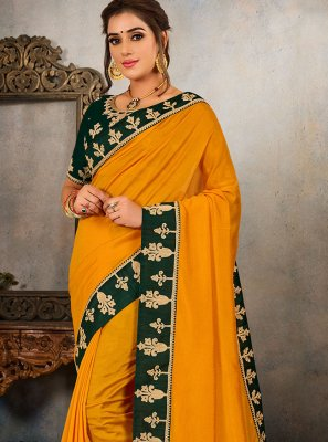 Vichitra Silk Embroidered Yellow Traditional Saree