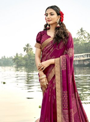 Vichitra Silk Foil Print Magenta Classic Saree
