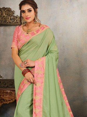 Vichitra Silk Green Traditional Saree