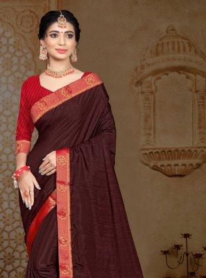 Vichitra Silk Lace Classic Saree in Brown