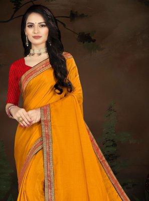 Vichitra Silk Lace Designer Traditional Saree in Yellow