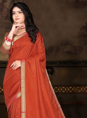 Vichitra Silk Lace Orange Classic Saree