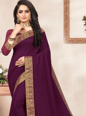 Vichitra Silk Lace Purple Traditional Saree