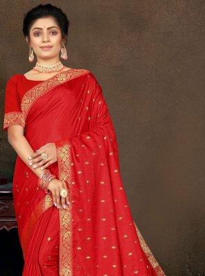 Vichitra Silk Lace Red Traditional Saree
