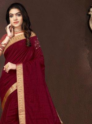 Vichitra Silk Lace Traditional Designer Saree