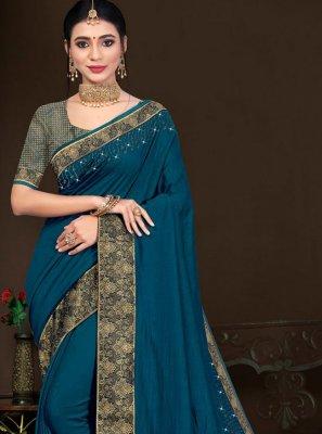 Vichitra Silk Lace Traditional Saree in Rama